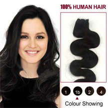 16 inches Natural Black (#1b) 20pcs Wavy Tape In Human Hair Extensions