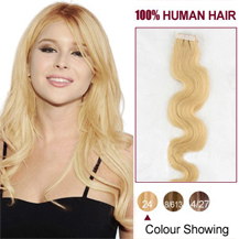 22 inches Ash Blonde (#24) 20pcs Wavy Tape In Human Hair Extensions