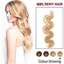 18 inches Blonde Highlight  (#27/613) 20pcs Wavy Tape In Human Hair Extensions