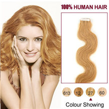 24 inches Strawberry Blonde (#27) 20pcs Wavy Tape In Human Hair Extensions