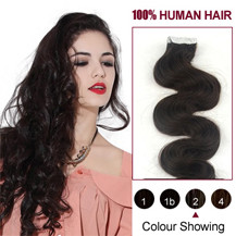 16 inches Dark Brown (#2) 20pcs Wavy Tape In Human Hair Extensions