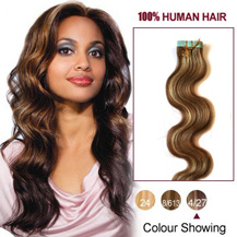 16 inches Brown/Blonde (#4/27) 20pcs Wavy Tape In Human Hair Extensions