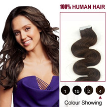 16 inches Medium Brown (#4) 20pcs Wavy Tape In Human Hair Extensions