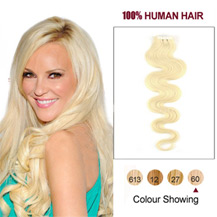 """16"""" White Blonde (#60) 20pcs Wavy Tape In Human Hair Extensions"""