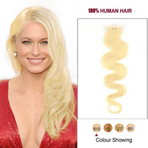 "16"" Bleach Blonde (#613) 20pcs Wavy Tape In Human Hair Extensions"