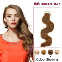 16 inches Light Brown (#10) 20pcs Wavy Tape In Human Hair Extensions