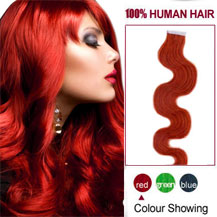 24 inches Red 20pcs Wavy Tape In Human Hair Extensions