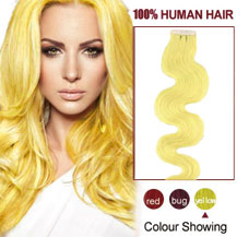16 inches Yellow 20pcs Wavy Tape In Human Hair Extensions
