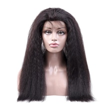 18 inches 360 Natural Black Kinky Yaki Straight Full lace Human closure wig