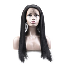 18 inches 360 Natural Black Straight Full lace Human closure wig