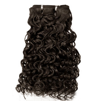 16 inches Medium Brown (#4) Curly Indian Remy Hair Wefts