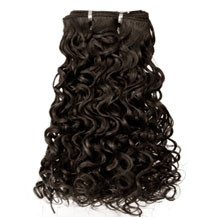 "16"" Medium Brown (#4) Curly Indian Remy Hair Wefts"