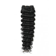 16 inches Jet Black (#1) Deep Wave Indian Remy Hair Wefts