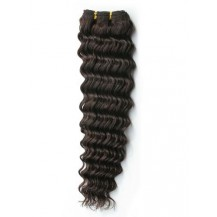 10 inches Dark Brown (#2) Deep Wave Indian Remy Hair Wefts