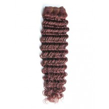 12 inches Dark Auburn (#33) Deep Wave Indian Remy Weave Hair