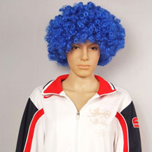 Fashionable Wig For Sports Curly Blue
