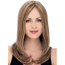 "18"" Human Hair Lace Front Wig Straight Blonde Highlight"