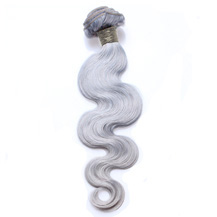 10 inches Silver Grey Hair Extensions Body Wave Gray Hair Weaves