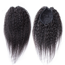 "12"" #1B Natural Black Kinky Yaki Straight Human Hair Ponytail 1PCS"