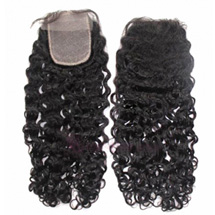 "18"" Natural Black Curly Virgin Brazilian Remy Hair Lace Closure"