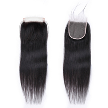 """8"""" Transparent Lace Frontal Closure #1B Natural Black Human Hair Extensions Straight"""